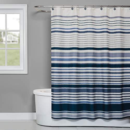 SKL Home by Saturday Knight Ltd. Cubes Stripe Fabric Shower Curtain, Blue