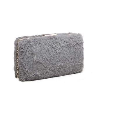 f79380bbac1 LeahWard Women s Faux Fur Clutch Bag Cross Body Handbag Wedding Night Out  Purse 2333 (Grey)  Amazon.co.uk  Shoes   Bags