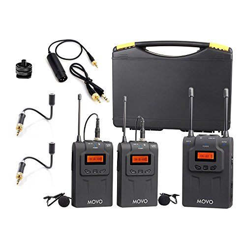 Movo WMIC80 UHF Wireless Lavalier Microphone System with 2 Bodypack Transmitters, Portable Receiver, 2 Lav Mics, and 2 Omnidirectional Gooseneck Microphones for DSLR Cameras & Camcorders by Movo