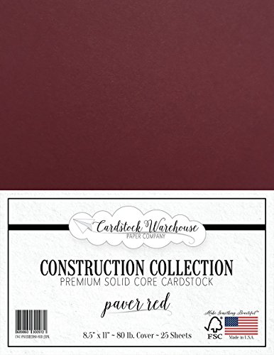 Paver RED/Wine/Burgundy Cardstock Paper - 8.5 x 11 inch Premium 80 LB. Cover - 25 Sheets from Cardstock Warehouse