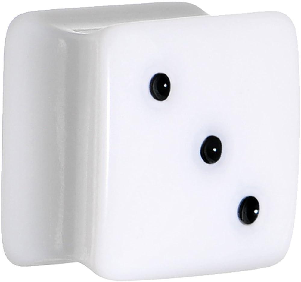 1,43 cm blanco cuadrado conector silla dados de acrílico