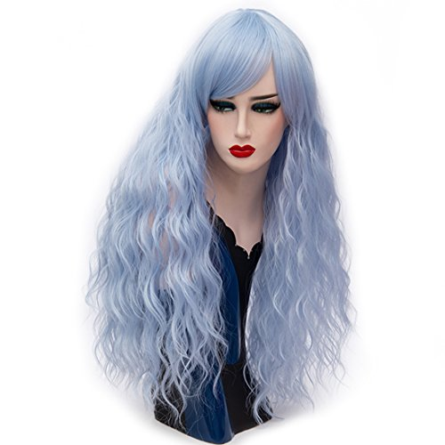 Alacos Fashion Lolita Style 70CM Long Curly Synthetic Cosplay Harajuku Wig for Women +Cap (Sky Blue) - Father Sky Costume