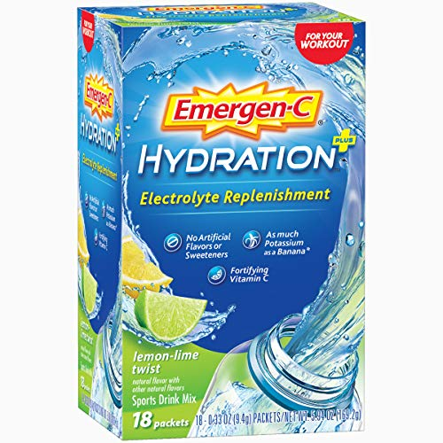 Emergen-C Hydration+ (18 Count, Lemon-Lime Twist Flavor) Sports Drink Mix with Vitamin C, Electrolyte Replenishment, 0.33 Ounce Powder Packets ()