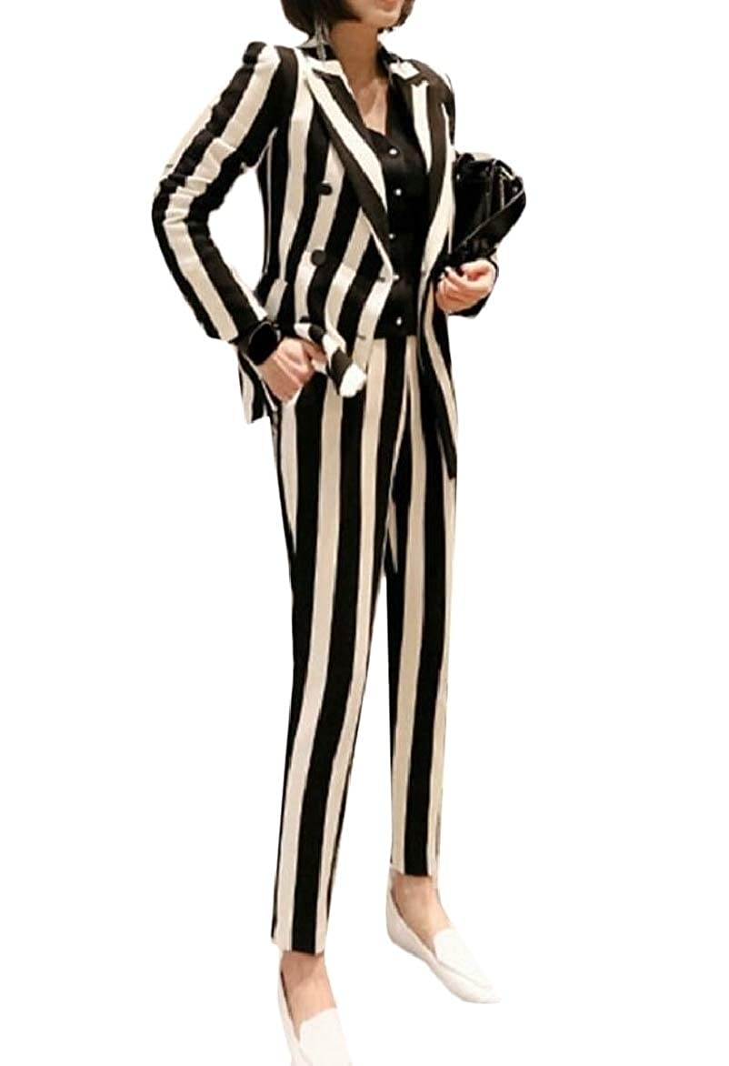 1 pujinggeCA Womens Slim Lapel Long Sleeve Stripe Double Breasted 2 Piece Suit Set