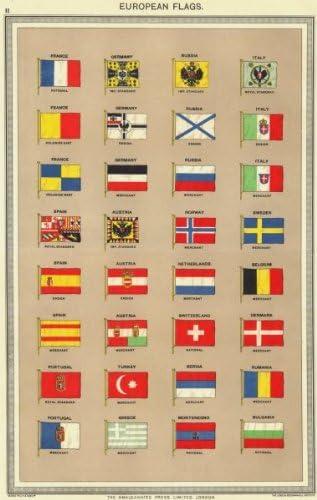 Europea Banderas. Francia Rusia Alemania Italia España Austria Portugal Noruega Old Vintage envejecido – 1907 – lienzo Prints de Europa: Amazon.es: Hogar