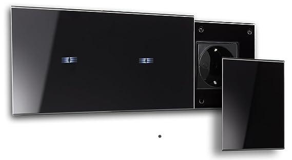 ROHDE+ROHDE® - schwarze 2-fache Touch-Lichtschalter-Steckdosen ...