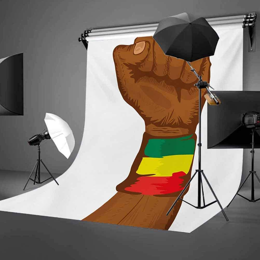 Rasta 10x12 FT Backdrop Photographers,Ethiopian Rebellion Symbol Wrist with Flag Colors Art Print Background for Baby Shower Birthday Wedding Bridal Shower Party Decoration Photo Studio