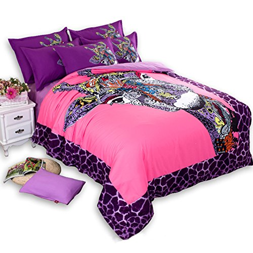 MeMoreCool 4pc Colorful Giraffe Girly Full Bedding Set Comfortable, Breathable, Soft & Extremely Durable - Wrinkle, Fade & Stain Resistant (100% (Anime Giraffe)