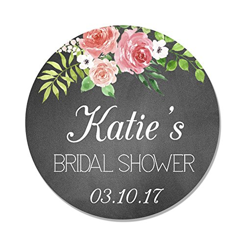40 Personalized Chalk & Flower Bridal Shower Favor Label Stickers - Party Favor Tags - Bridal Shower Favor Tag -