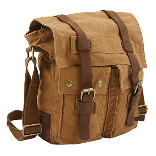Business Canvas Bag for men, Berchirly Vintage Canvas Shoulder Messenger Travel Crossbody Bag