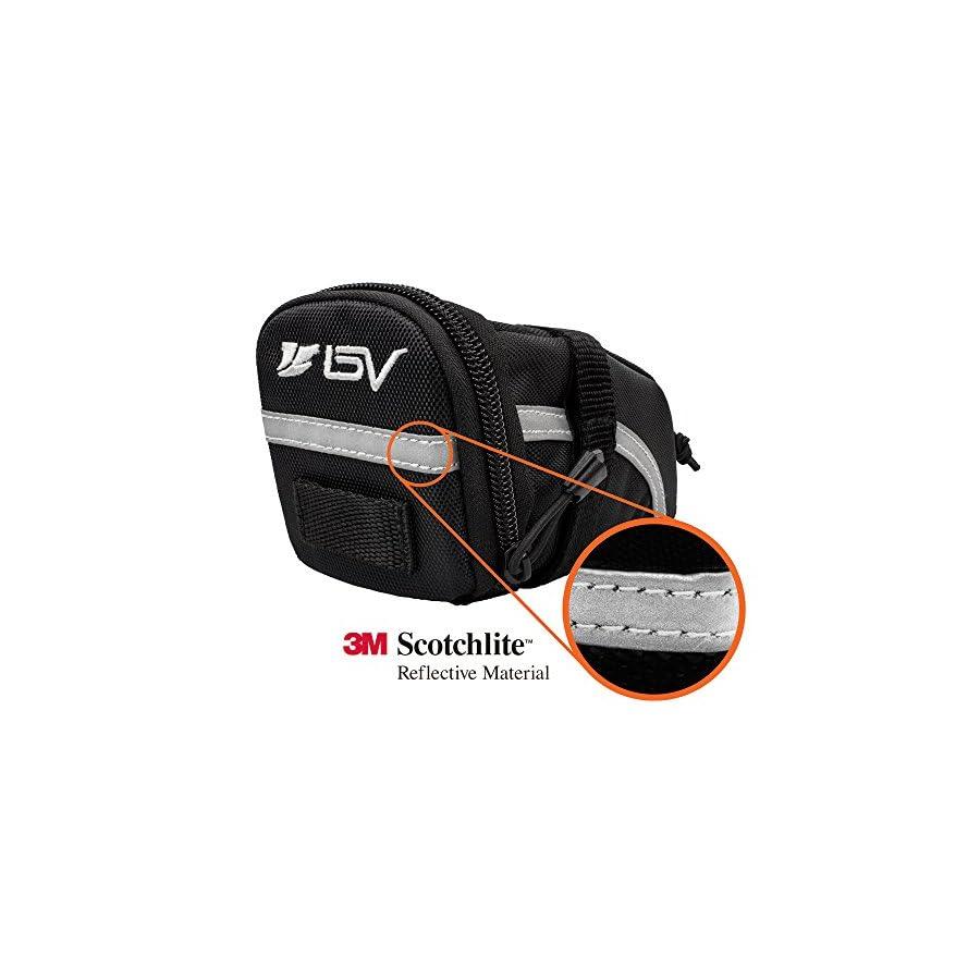 BV Bicycle Strap On Saddle Bag, Inside Mesh Pocket Bike Seat Bag