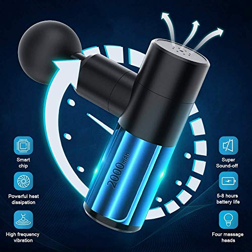 Bcamelys Mini massagegerät Massagepistole Elektrisch Entspannen mit 4 Massageköpfen,4 Geschwindigkeiten Tiefengewebetherapiepistole Massage Gun für Nacken Schulter Rücken