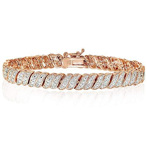 Rose Gold Flashed Brass Polished S Bar Design Round Diamond Accent Tennis Bracelet, JK-I3