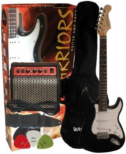 Pack Completo Guitarra eléctrica negra con amplificador 10 Watts y accesorios: Amazon.es: Instrumentos musicales