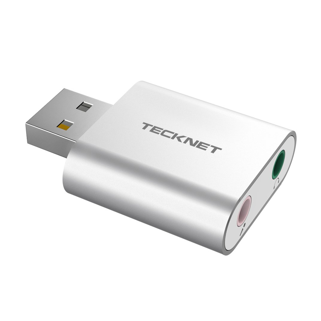 TeckNet Aluminum USB Sound Card External Stereo Sound Adapter For Windows and Mac, Plug and Play, No drivers Needed