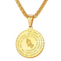 Rose Gold Plated Praying Hands Coin Medal Pendant Necklace with Wheat Chain