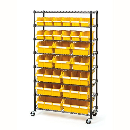 Seville Classics Commercial 8-Tier Black/Yellow NSF 24-Bin Rack Storage System - Yellow Closet Organizer