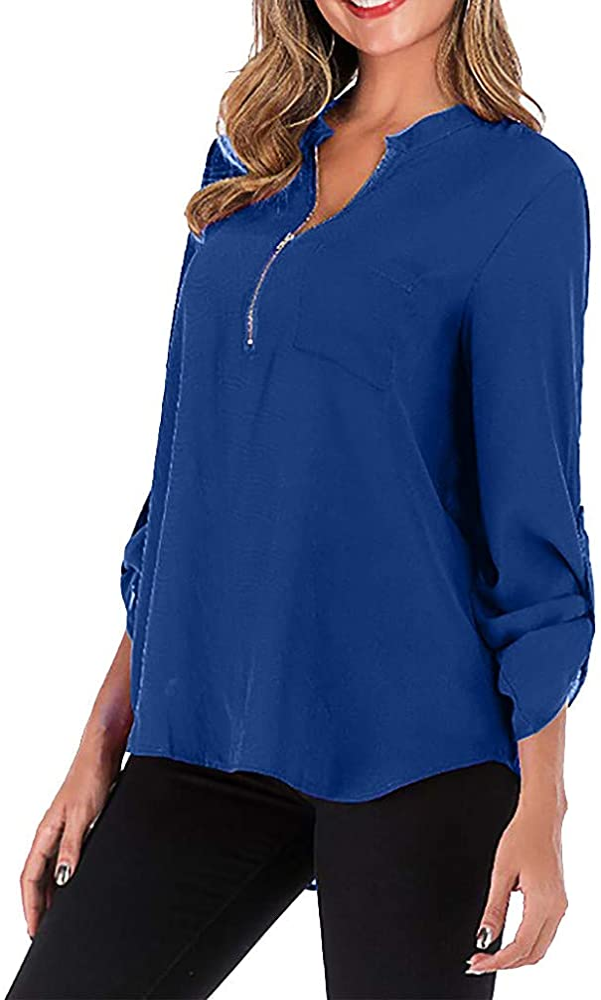 Luckycat Blusas y Camisa Mujer Vaquera Sexy Camisetas de Gasa Tops Cremallera Manga Corta Blusas Cuello en V Ropa Blusas Camisetas de Gasa Ropa de Mujer Camisas Manga Ajustable Blusas Top: Amazon.es: