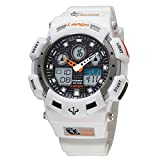 Excelvan Auto Analog 100M WATERPROOF Analog-Digital Woman Mens Military Sport Watch Students Watches with Alarm Stopwatch Chronograph Calendar (White)