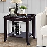 PrimaSleep PR22TB04D 22″ H Marble Top Solid Wood Legs Coffee Side End Sofa Table, Black/Dark Brown
