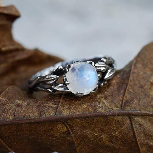 (Sterling Silver Rainbow Moonstone Ring