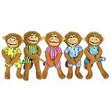 MerryMakers Five Little Monkeys Finger Puppet Playset, 5-Inch
