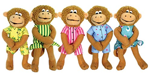 MerryMakers Five Little Monkeys Finger Puppet Playset, Set of 5, 5-Inches Each ()