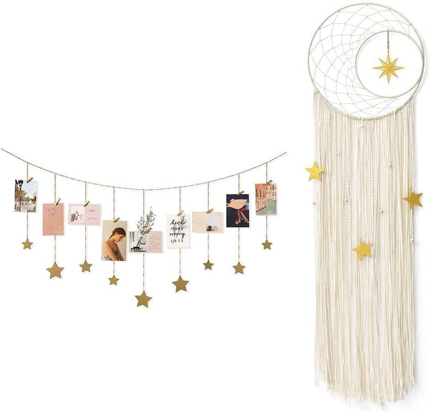 Mkono Hanging Photo Display with Dream Catcher Boho Wall Art Decoration for Home Office Nursery Room Dorm