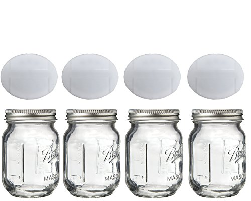 Mini Mason Spice Jar with Dispenser Lid 4oz (4, white)