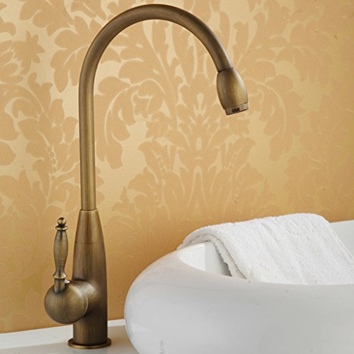 Antique brass kitchen hot and cold faucet Heighten swivel basin Washbasin universal hot and cold faucet,B