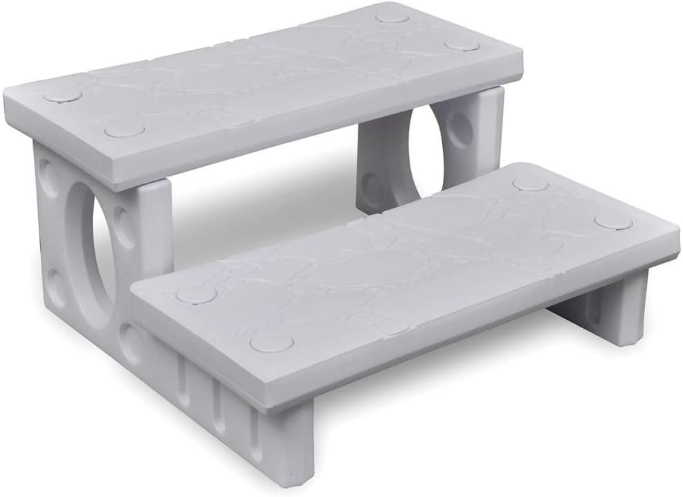 vidaXL Mini Escalera 2 Peldaños Jacuzzi Plástico Blanco Escalón Bañera Piscina