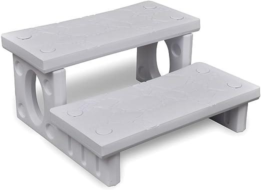 vidaXL Mini Escalera 2 Peldaños Jacuzzi Plástico Blanco Escalón Bañera Piscina: Amazon.es: Hogar