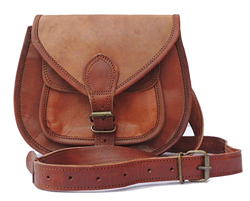 Body Inch Bag Style Brown for Women 9 Vintage Sling Satchel Shoulder Bag Purse Leather Purse Cross Ladies tqHXwX