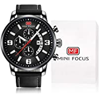 MINI FOCUS Men Business Casual Quartz Analog Wristwatch with Leather Strap (Black)