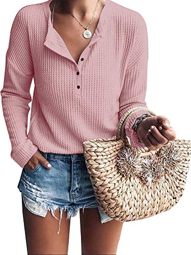 (Womens Henley Shirts V Neck Long Sleeve Button Down Waffle Knit Tunic Tops Tee (Pink, Large))