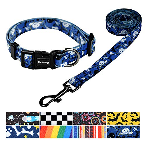 Ihoming Pet Collar Leash Set Halloween Pumpkin Combo Safety Set for Daily Outdoor Walking Running Training Small Medium Large Dogs Cats Blue Black and White Small ()
