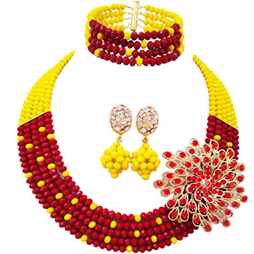 aczuv 5 Rows Royal Blue Yellow Women's Fashion African Beads Nigerian Necklace Bridal Wedding Jewelry Sets (Opaque Yellow Transparent) ()
