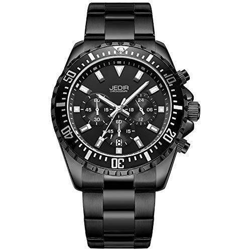 JEDIR Men's Multifunction Watches Analogue Chronograph Dress Wrist Watch Quartz Display Date Stainless Steel Strap (Black/Black) (Multifunction Watch Dress)