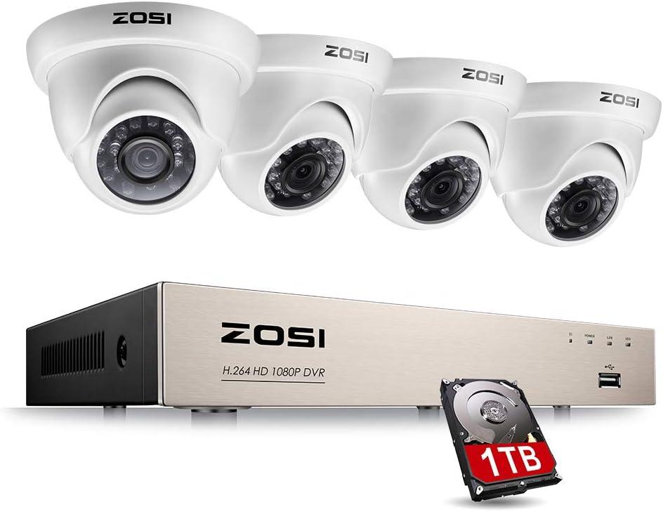 ZOSI Sistema de Seguridad 1080P CCTV Kit de Cámara Vigilancia 8CH 2MP Grabador DVR + (4) Cámara Exterior en Domo + 1TB Disco Duro, Acceso Remoto, Detección de Movimiento