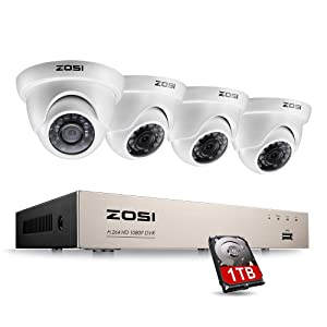 ZOSI 8CH FULL TRUE 1080P HD-TVI DVR Recorder HDMI With 4X 1980TVL Indoor outdoor Surveillance Security Dome Camera System 1TB hard Disk -65feet Night Vision -IR Cut built in -Quick Remote Access