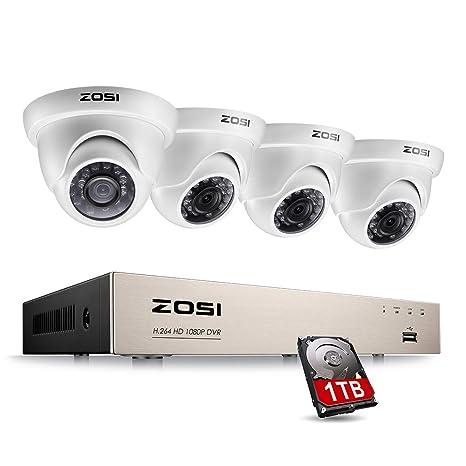 ZOSI Sistema de Seguridad 1080P CCTV Kit de Cámara Vigilancia 8CH 2MP Grabador DVR + (4) Cámara Exterior en Domo + 1TB Disco Duro, Acceso Remoto, ...