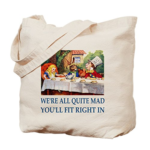 CafePress WE're ALL QUITE MAD Natural Canvas Tote Bag, Cloth Shopping Bag