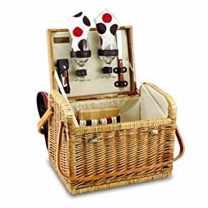 Picnic Time Kabrio Picnic Basket with Wine and Cheese Service for Two, Moka Collection