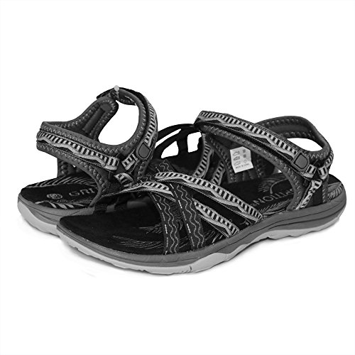 Pictures of GRITION Women Hiking Sandals, Outdoor Girl Sport Summer Flat Beach Water Shoes Open Toe Adjustable Walking Shoes (11 US, Black/Grey) 2