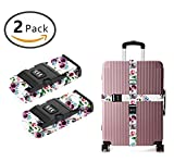 YEAHSPACE TSA Travel Tags Accessories Luggage Strap 2-Pc sunglasses flowers skull With 3 Digit Lock Adjustable Suitcase Belt