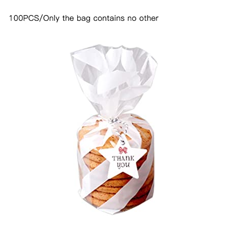 100Pcs Plastic Cookie Candy OPP Bag Biscuits Package Holder Gift Party