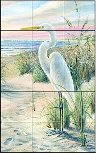 Ceramic Tile Mural - Egret Beach - by Mary Erickson - Kitchen backsplash / Bathroom shower by The Tile Mural Store