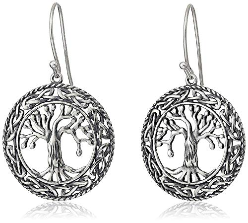 925 Sterling Silver Oxidized Celtic Knot Openwork Tree of Life Drop Earrings