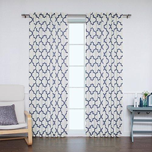 Best Home Fashion Faux Slub Linen Textured Reverse Moroccan Print Curtains – Back Tab/ Rod Pocket- Navy – 52″W x 84″L – (Set of 2 Panels)