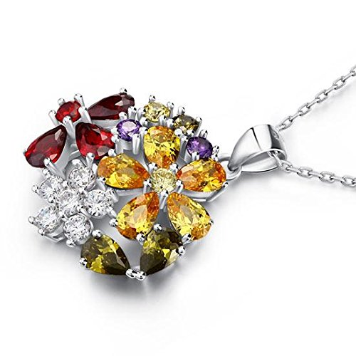 Exquisite Selebrity 3.5 Carat Multi-Color Created Topaz Flower 925 Sterling Silver Pendant Necklace 8015